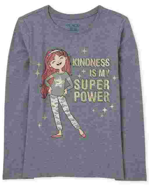 Girls Long Sleeve 'Kindness Is My Super Power' Graphic Tee