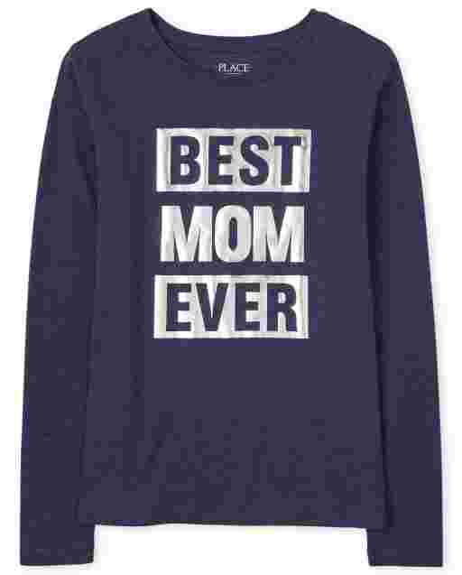 Womens Matching Family Long Sleeve Foil 'Best Mom Ever' Graphic Tee