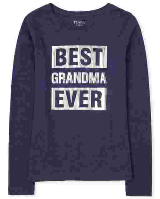 Womens Matching Family Long Sleeve Foil 'Best Grandma Ever' Graphic Tee