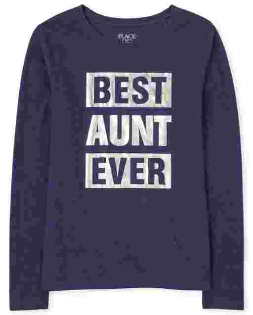 Womens Matching Family Long Sleeve Foil 'Best Aunt Ever' Graphic Tee
