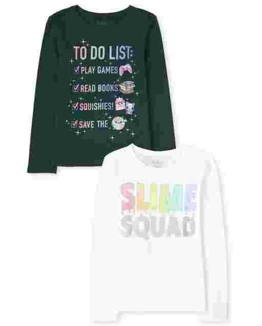 Pack de 2 camisetas estampadas Trend para niñas