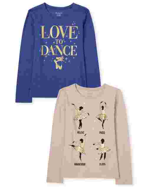 Girls Long Sleeve Glitter 'Love To Dance' And Ballerina Graphic Tee 2-Pack