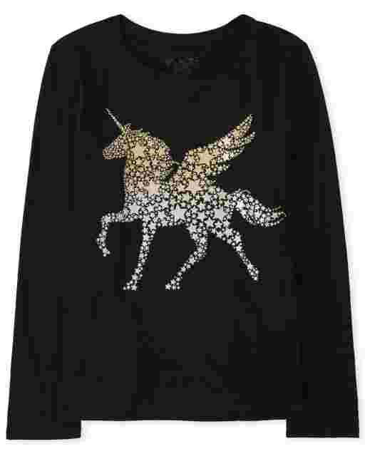 Girls Long Sleeve Unicorn Star Graphic Tee