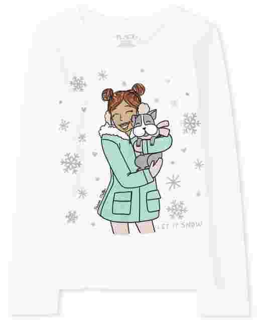 Girls Long Sleeve Winter Girl Graphic Tee