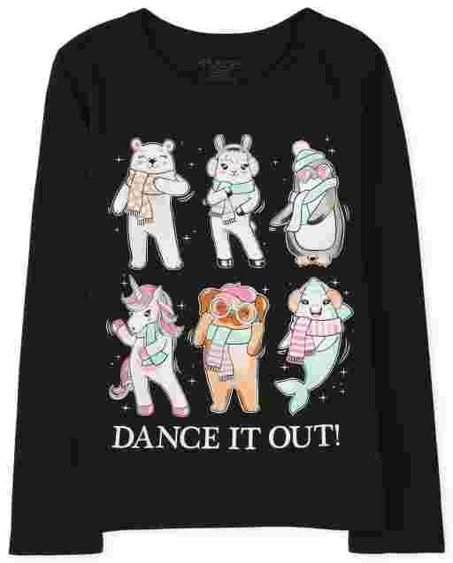 Camiseta estampada Dance It Out para niñas