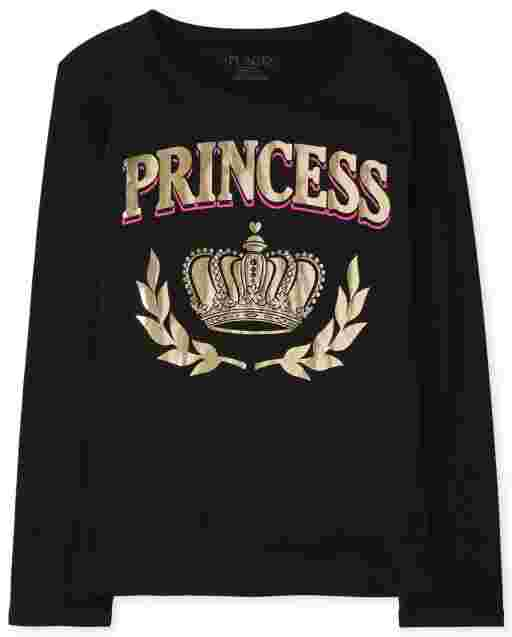 Girls Matching Family Long Sleeve Foil 'Princess' Royalty Graphic Tee