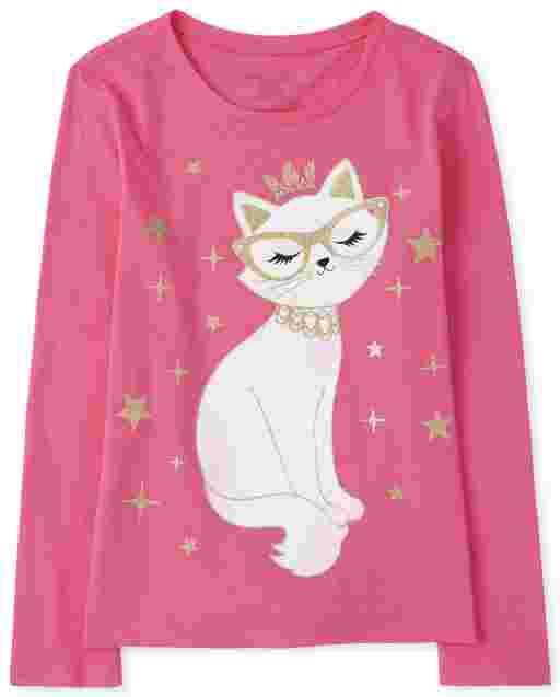 Girls Long Sleeve Princess Cat Graphic Tee
