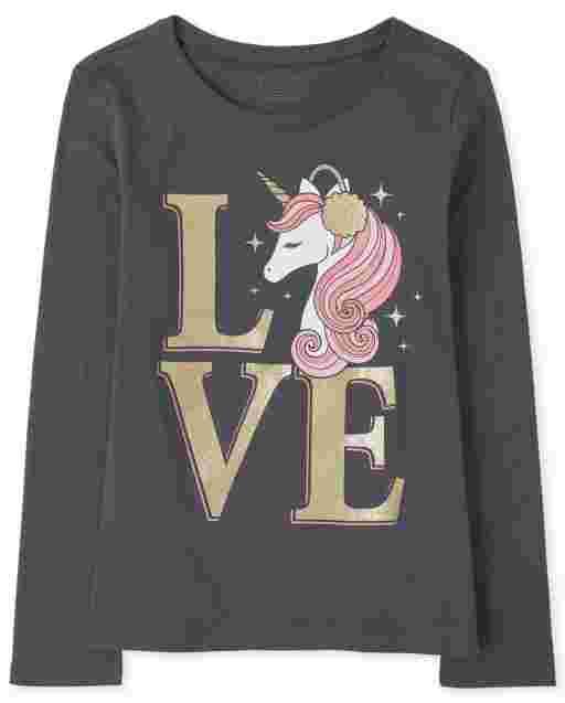 Camiseta estampada Unicorn Love para niñas