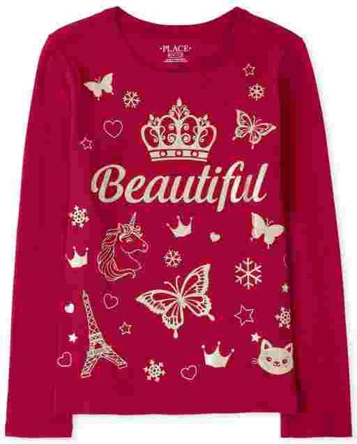 Girls Long Sleeve Glitter 'Beautiful' Graphic Tee