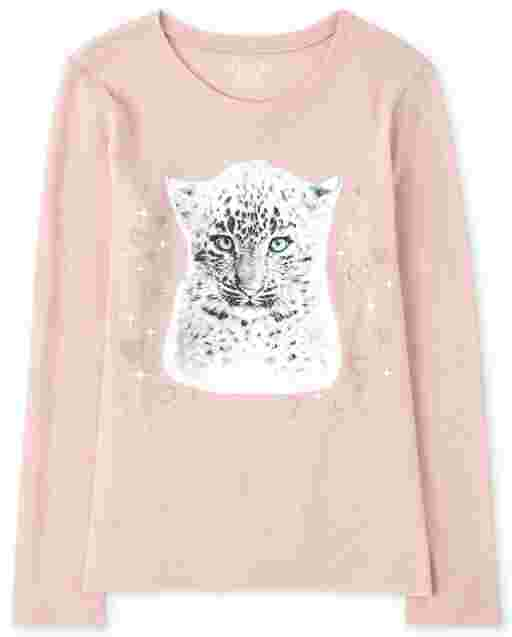 Girls Long Sleeve Cheetah Graphic Tee