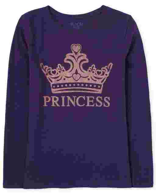 Girls Long Sleeve Glitter 'Princess' Graphic Tee