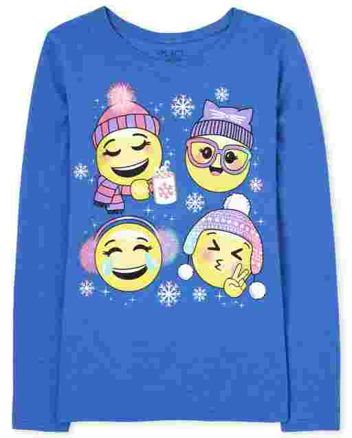 Girls Long Sleeve Winter Emojis Graphic Tee