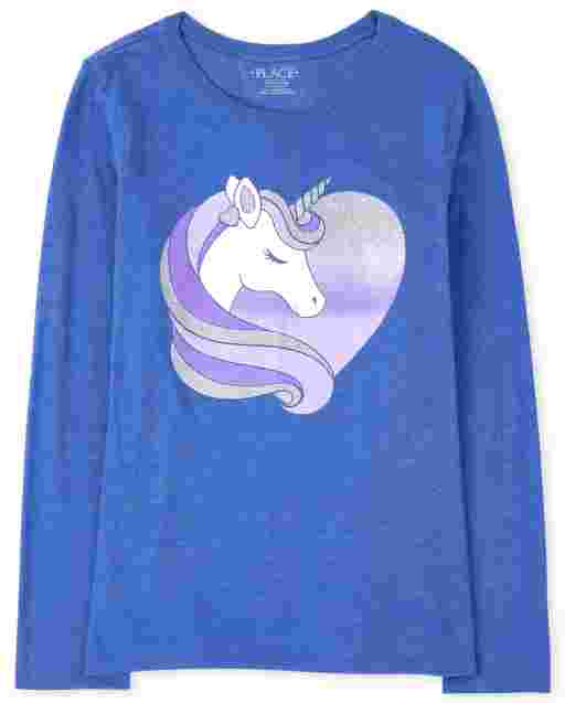 Girls Long Sleeve Unicorn Heart Graphic Tee