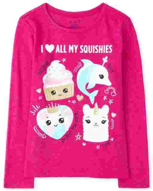 Girls Long Sleeve ' I Love My Squishies' Graphic Tee