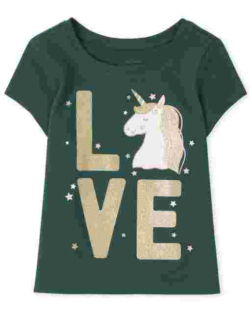 Baby And Toddler Girls Short Sleeve Unicorn 'Love' Graphic Tee