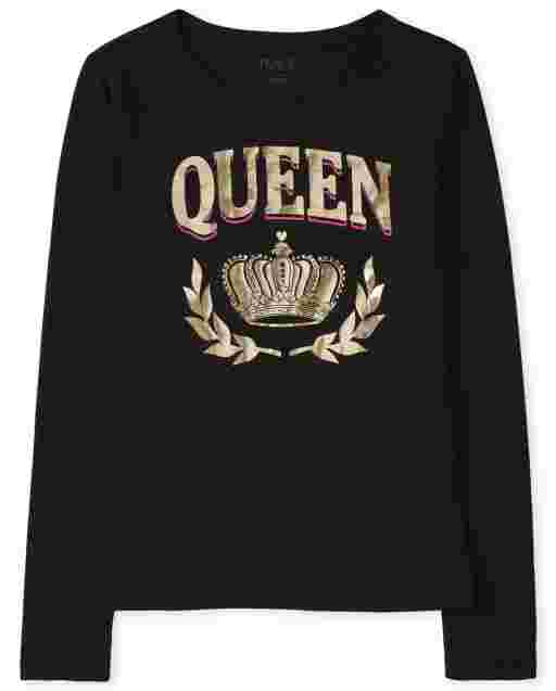 Womens Matching Family Long Sleeve Foil 'Queen' Royalty Graphic Tee