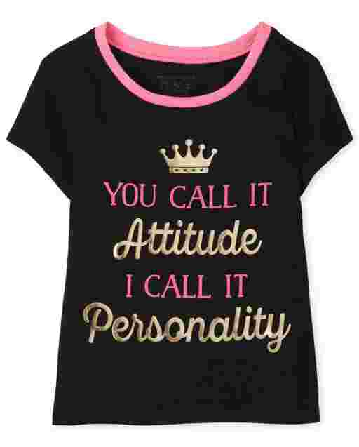 Baby And Toddler Girls Short Sleeve 'You Call It Attitude I Call It Personality' Graphic Tee