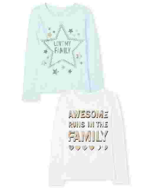 Girls Long Sleeve 'Love My Family' And 'Awesome Runs In The Family' Graphic Tee 2-Pack