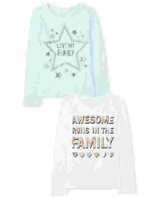 Paquete de 2 camisetas con estampado familiar para niñas