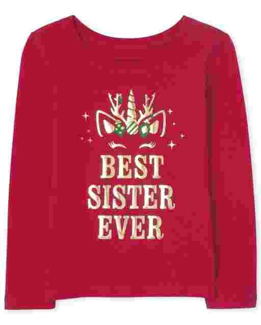Baby And Toddler Girls Long Sleeve Holiday Unicorn 'Best Sister Ever' Graphic Tee