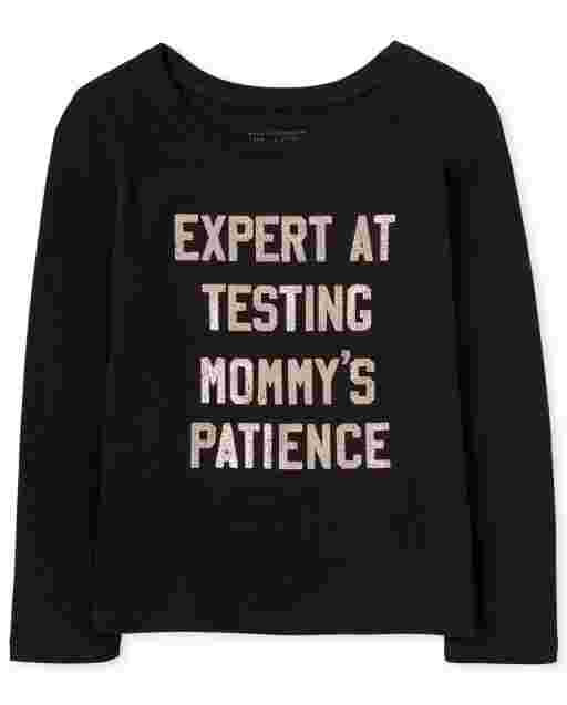 Baby And Toddler Girls Long Sleeve 'Expert At Testing Mommy's Patience' Graphic Tee