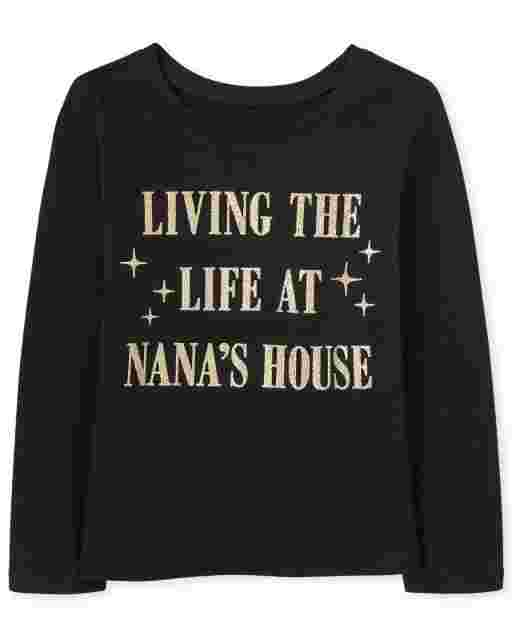 Baby And Toddler Girls Long Sleeve Glitter 'Living Life At Nana's House' Graphic Tee