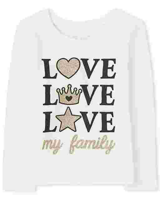 Baby And Toddler Girls Long Sleeve Glitter 'Love My Family' Graphic Tee
