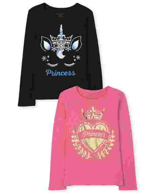 Pack de 2 camisetas estampadas de princesa para niñas