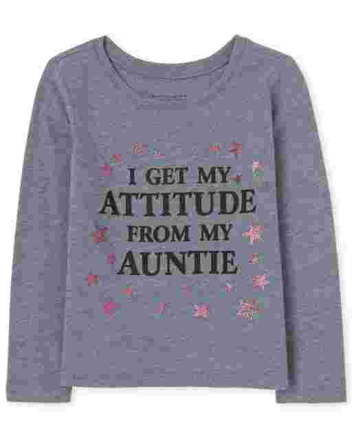 Baby And Toddler Girls Long Sleeve 'I Get My Attitude From My Auntie' Graphic Tee