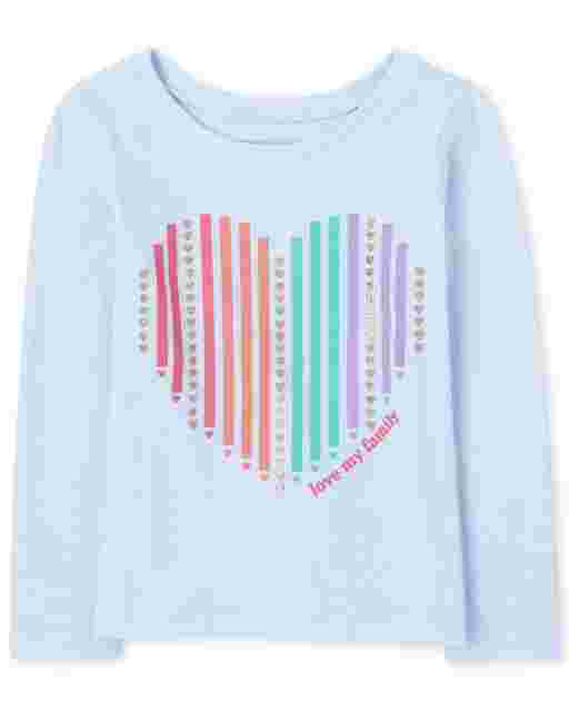 Baby And Toddler Girls Long Sleeve 'Love My Family' Heart Graphic Tee