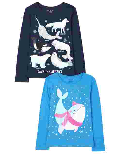Girls Long Sleeve Animals Graphic Tee 2-Pack