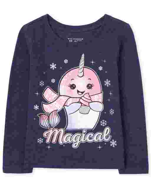 Baby And Toddler Girls Long Sleeve 'Magical' Narwhal Graphic Tee