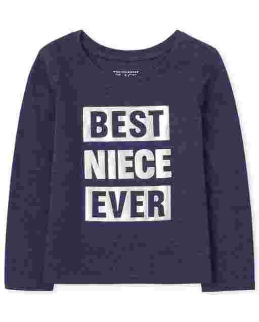 Lámina de manga larga familiar a juego para bebés y niñas pequeñas ' mejor sobrina de todos los tiempos ' Camiseta gráfica