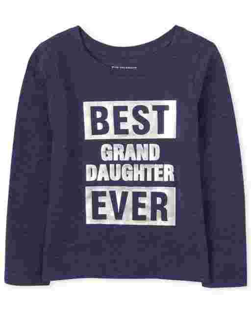 Lámina de manga larga familiar a juego para bebés y niñas pequeñas ' mejor nieta de todos los tiempos ' camiseta gráfica
