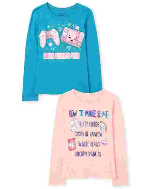 Girls Long Sleeve 'How To Make Slime' And 'Girls Always Win' Graphic Tee 2-Pack