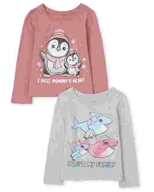 Baby And Toddler Girls Long Sleeve 'I Love My Family' Shark And 'I Melt Mommy's Heart' Penguin Graphic Tee 2-Pack