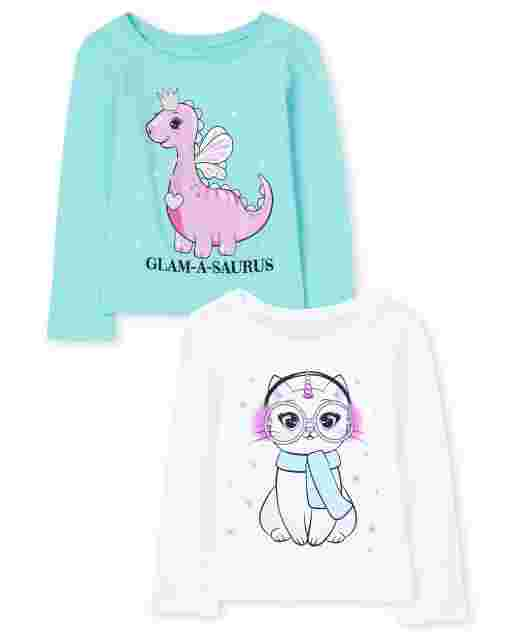 Baby And Toddler Girls Long Sleeve Cat And 'Glam-A-Saurus' Dino Graphic Tee 2-Pack