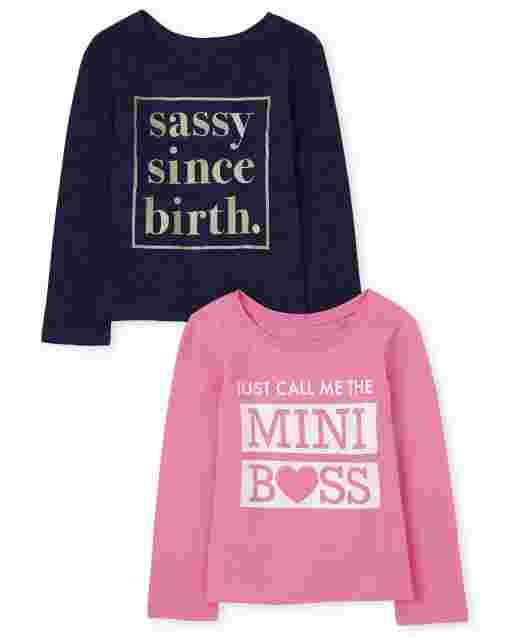 Baby And Toddler Girls Long Sleeve Glitter 'Sassy Since Birth' And 'Just Call Me Mini Boss' Graphic Tee 2-Pack