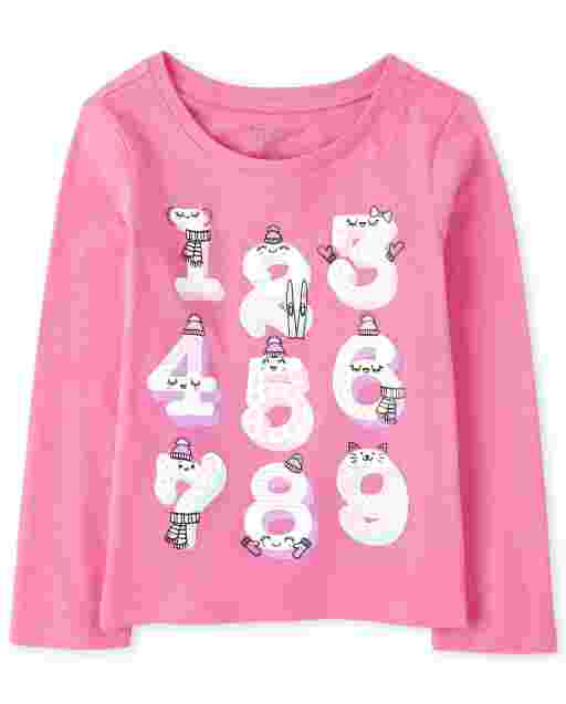 Baby And Toddler Girls Long Sleeve Numbers Graphic Tee