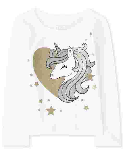 Baby And Toddler Girls Long Sleeve Glitter Unicorn Heart Graphic Tee