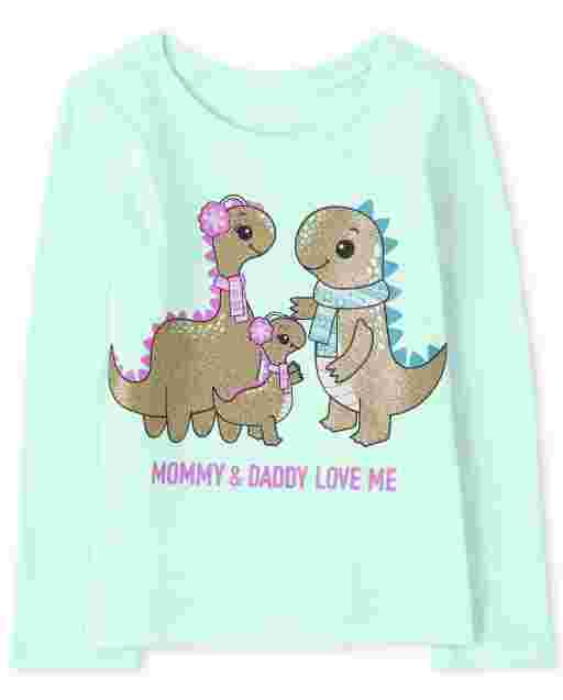 Baby And Toddler Girls Long Sleeve 'Mommy And Daddy Love Me' Dino Family Graphic Tee