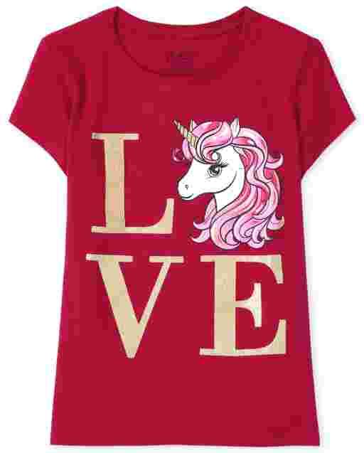 Girls Valentine's Day Short Sleeve Unicorn 'Love' Graphic Tee