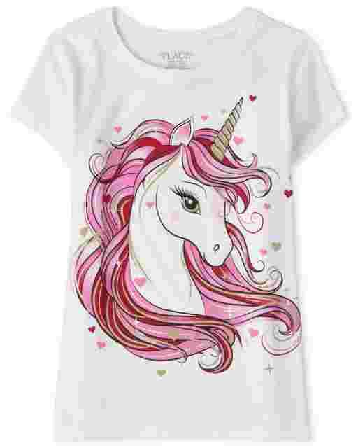 Girls Valentine's Day Short Sleeve Unicorn Graphic Tee