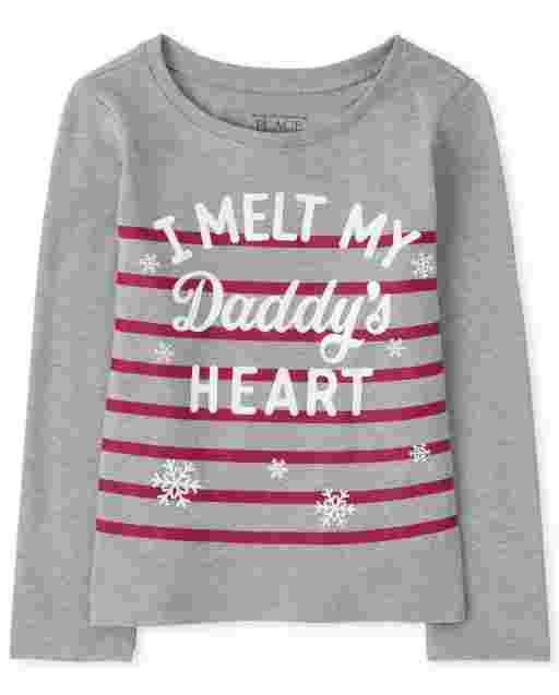 Camiseta con estampado de corazón Daddy ' s para bebés y niñas pequeñas