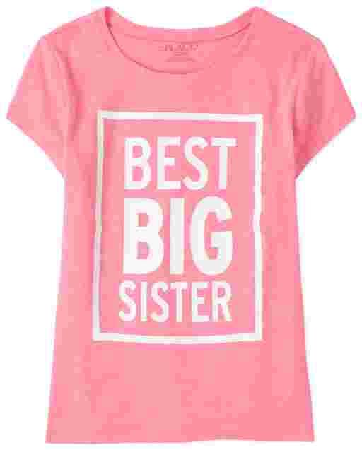 Girls Short Sleeve 'Best Big Sister' Graphic Tee