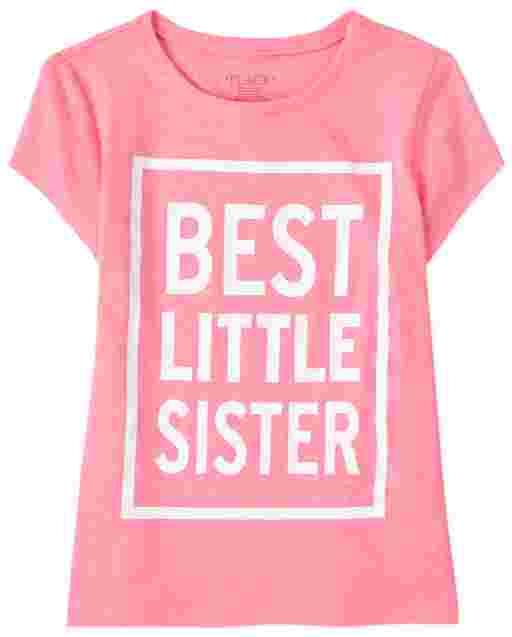 Girls Short Sleeve 'Best Little Sister' Graphic Tee