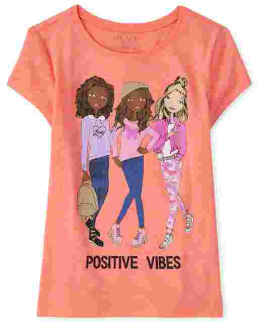 Girls Short Sleeve 'Positive Vibes' Graphic Tee