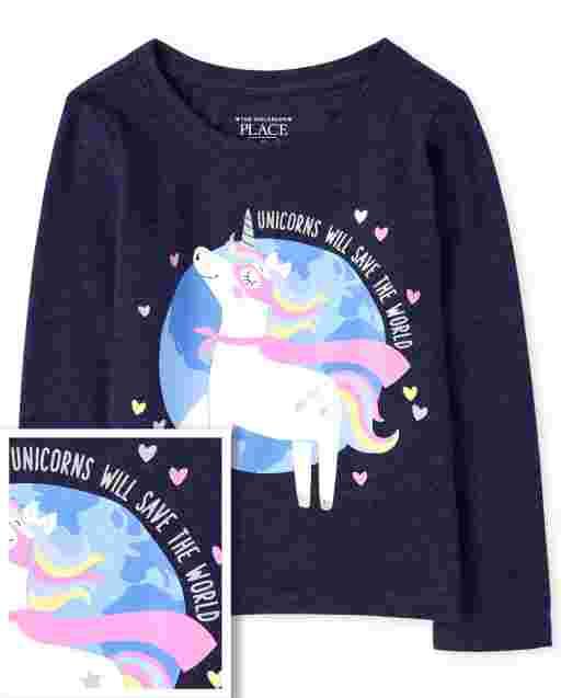 Baby And Toddler Girls Long Sleeve Unicorn Super Hero Graphic Tee