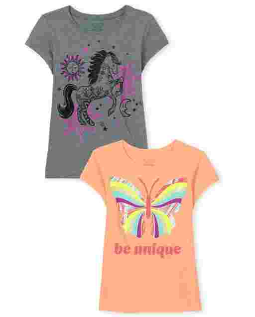 Girls Short Sleeve 'Be Unique' Butterfly And Horse Graphic Tee 2-Pack