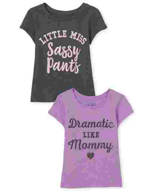 Baby And Toddler Girls Short Sleeve 'Little Miss Sassy Pants' And 'Dramatic Like Mommy' Graphic Tee 2-Pack